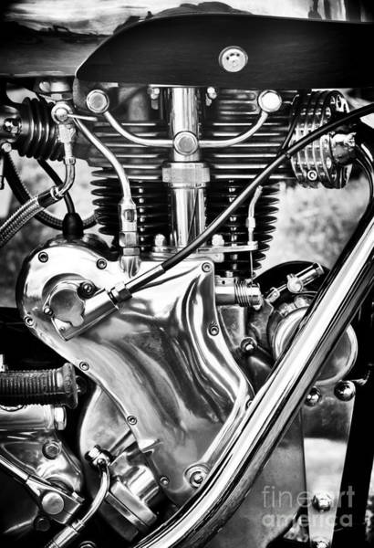 Photograph - Velocette Venom Engine Monochrome by Tim Gainey
