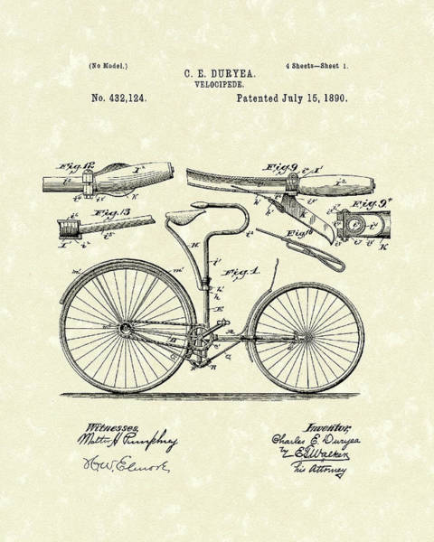 Drawing - Velocipede 1890 Patent Art by Prior Art Design