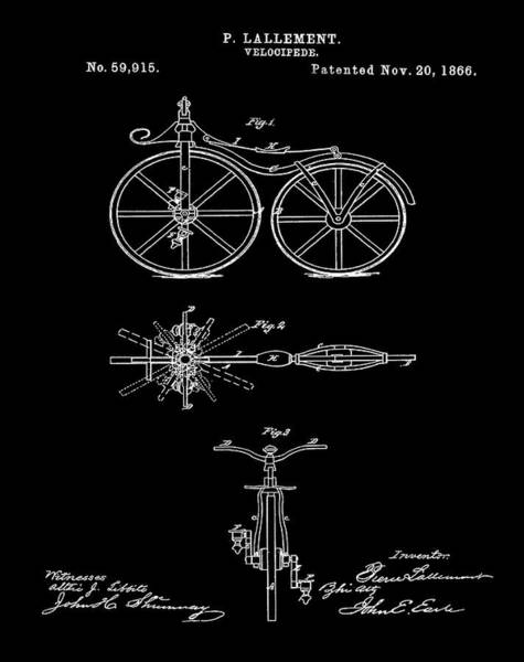 Digital Art - Velocipede Bicycle Patent 1866 Black by Bill Cannon