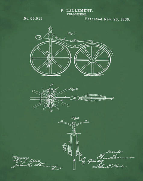 Digital Art - Velocipede Bicycle Patent 1866 Green by Bill Cannon