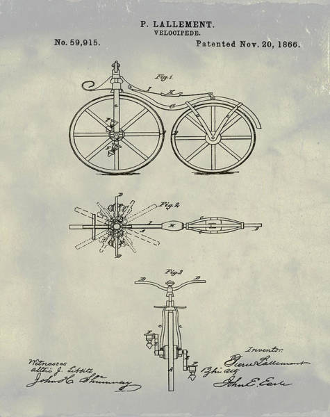 Digital Art - Velocipede Bicycle Patent 1866 Vintage by Bill Cannon