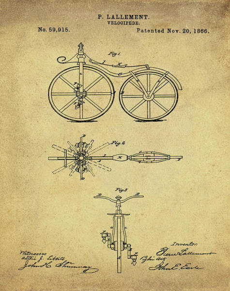 Digital Art - Velocipede Bicycle Patent 1866 Vintage Sepia by Bill Cannon