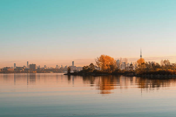 Complementary Colours Photograph - Velvety Serenity - Toronto Skyline Reflections In Teal And Orange by Georgia Mizuleva