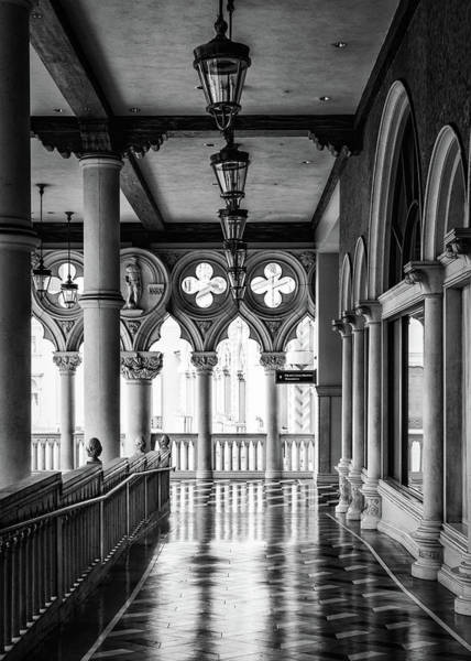 Photograph - Venetian Corridor Black And White by Framing Places