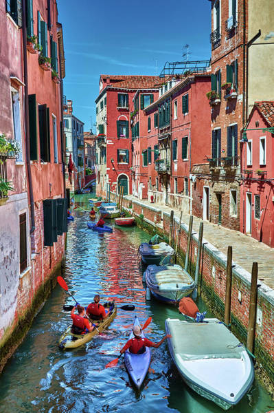 Photograph - Kayaking On The Canals Of Venice, Italy by Fine Art Photography Prints By Eduardo Accorinti