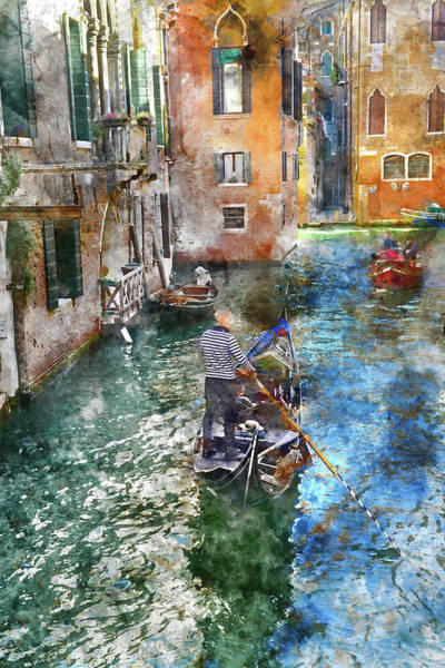 Photograph - Venetian Gondolier Pushing Gondola Through Green Canal Waters Of by Brandon Bourdages