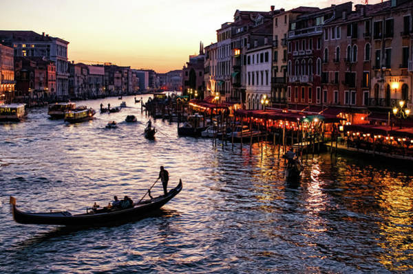 Painting - Venetian Impressions - Grand Canal Busy Traffic In Purple And Gold by Georgia Mizuleva