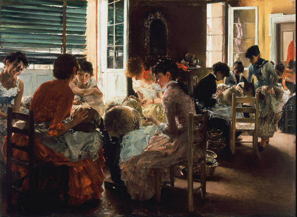 Confident Painting - Venetian Lacemakers 1887 by Robert Frederick Blum