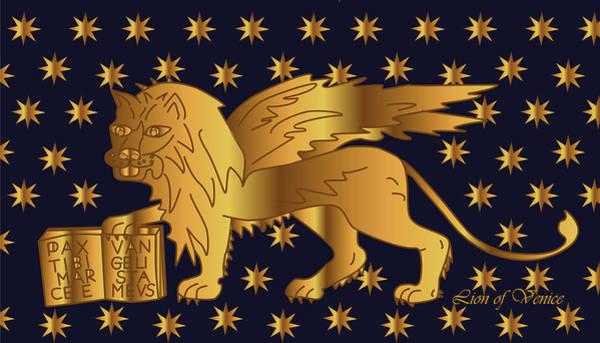 Digital Art - Venetian Lion by Marina Usmanskaya