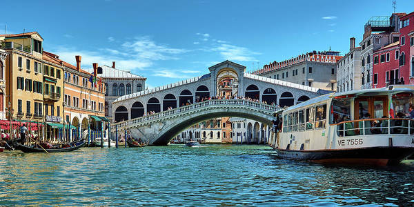 Photograph - Panoramic View Of The Grand Canal And The Rialto Bridge In Venice, Italy by Fine Art Photography Prints By Eduardo Accorinti
