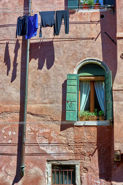 Photograph - Old Window And Hanging Clothes In Venice, Italy by Fine Art Photography Prints By Eduardo Accorinti