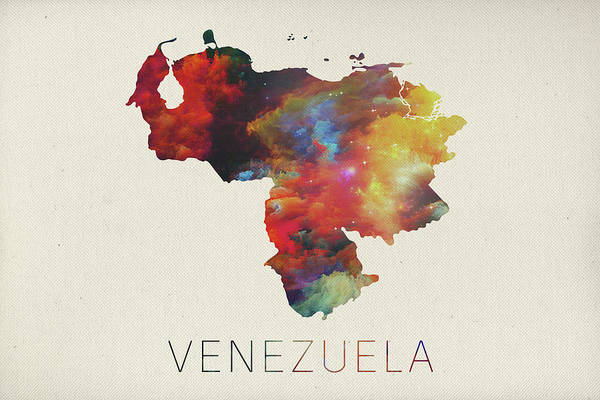 South America Mixed Media - Venezuela Watercolor Map by Design Turnpike