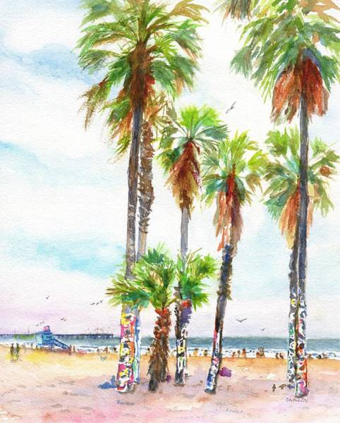 Painting - Venice Beach California Graffiti Palm Trees by Carlin Blahnik CarlinArtWatercolor