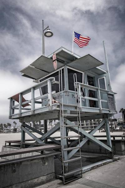 Photograph - Venice Beach Life Guard Station In Black And White by Lynn Bauer