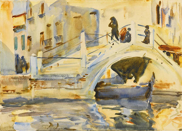 Impressionistic Drawing - Venice. Bridge With Figures  by John Singer Sargent