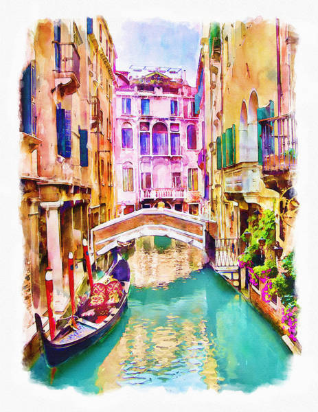 Romantic Mixed Media - Venice Canal 2 by Marian Voicu