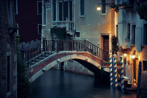 Photograph - Venice Canal Night Bridge by Songquan Deng