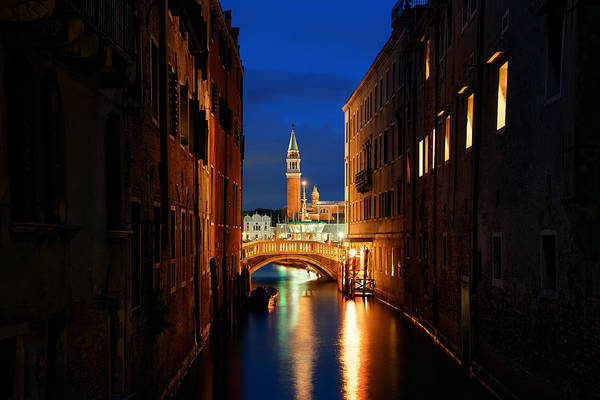 Photograph - Venice Canal Night San Giorgio Maggiore by Songquan Deng
