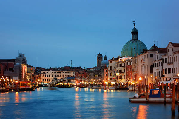 Photograph - Venice Canal Night by Songquan Deng