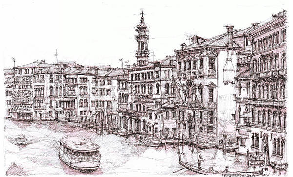 Pen And Ink Drawing Drawing - Venice Canals In Italia by Building  Art