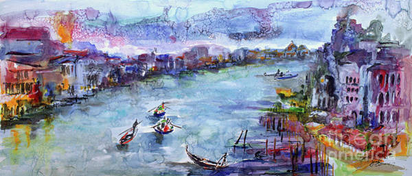 Painting - Venice Festivities Travel Italy Watercolor And Ink by Ginette Callaway