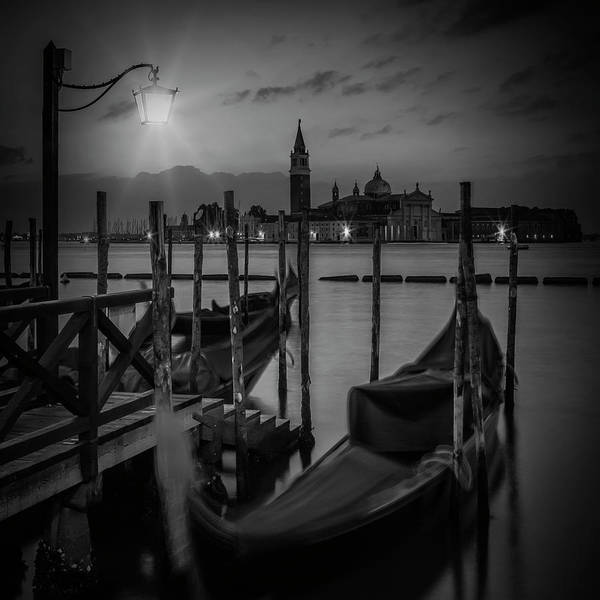 Wall Art - Photograph - Venice Gondolas During Blue Hour In Black And White by Melanie Viola
