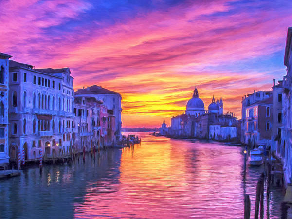 Painting - Venice Grand Canal At Sunset by Dominic Piperata
