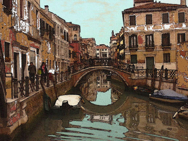 Drawing - Venice Cannaregio Impression by Peter Potter