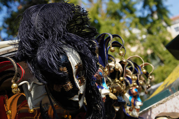 Photograph - Venice Italy - Black And White Fantasy Mask With Feathers by Georgia Mizuleva