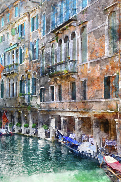 Photograph - Venice Italy Buildings And Gondolas by Brandon Bourdages