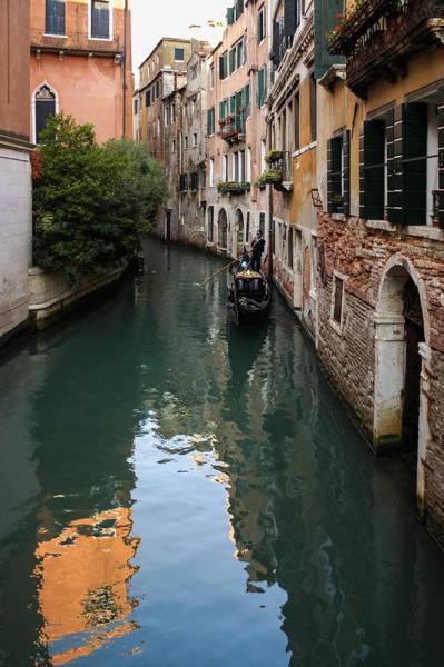Photograph - Venice Italy - Green Canal Reflections And A Gondola by Georgia Mizuleva
