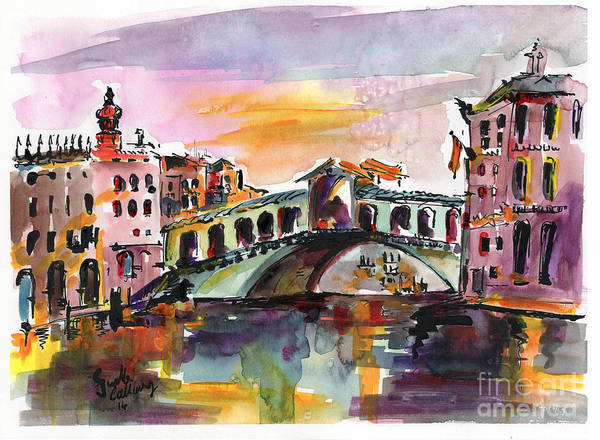 Mixed Media - Venice Italy Silence Rialto Bridge by Ginette Callaway