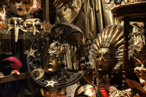 Photograph - Venice Italy - Sun And Moon Venetian Carnival Masks  by Georgia Mizuleva
