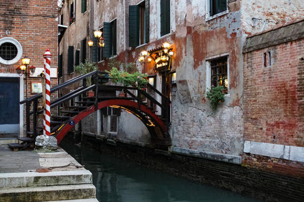 Photograph - Venice Italy - The Cheerful Christmassy Restaurant Entrance Bridge by Georgia Mizuleva