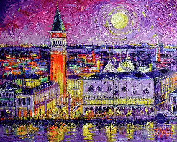 Moon Shadow Painting - Venice Night View Modern Textural Impressionist Stylized Cityscape by Mona Edulesco