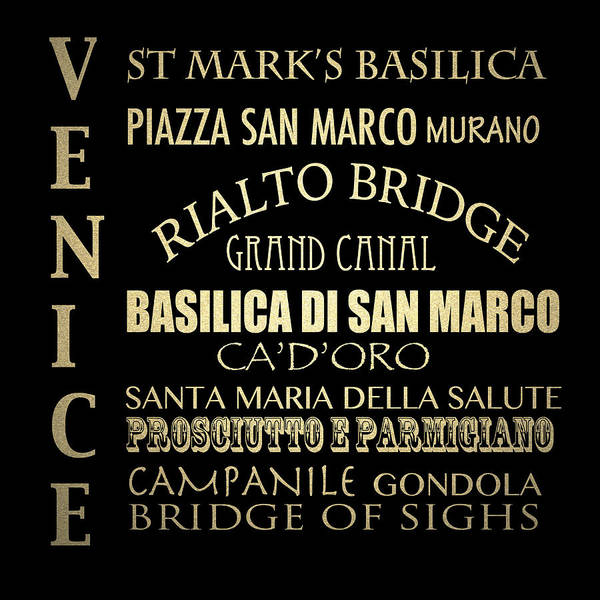 Wall Art - Digital Art - Venice Famous Landmarks by Patricia Lintner