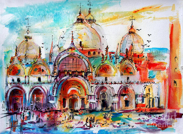 Painting - Venice Piazza Saint Marco Basilica by Ginette Callaway
