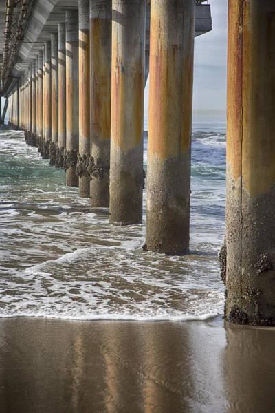Under The Pier Photograph - Venice Pier Columns by Rosanne Nitti