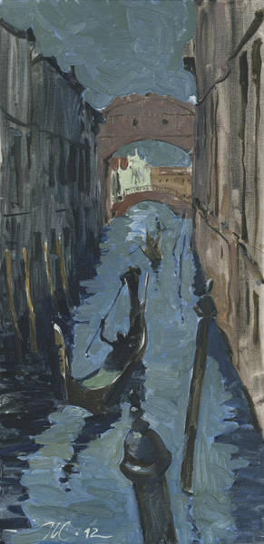 Painting - Venice. Ponte Dei Sospiri In Twilight by Igor Sakurov