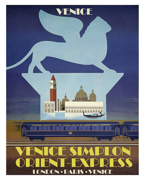 Wall Art - Painting - Venice, Simplon, Orient Express, Railway Poster by Long Shot