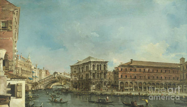 Wall Art - Painting - Venice The Rialto Bridge With The Palazzo Dei Camerlenghi  by Francesco Guardi