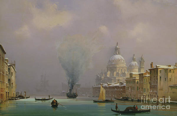 Waterway Painting - Venice Under Snow by Ippolito Caffi