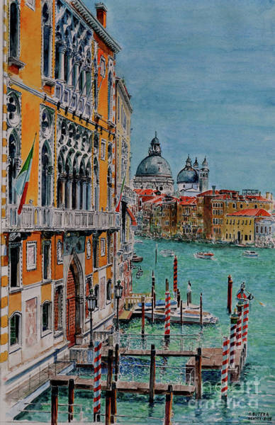 Waterway Painting - Venice, View From Academia Bridge by Anthony Butera