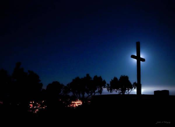 Ventura Ca Cross At Moonset Art Print