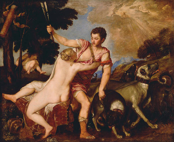 Wall Art - Painting - Venus And Adonis About   by Titian