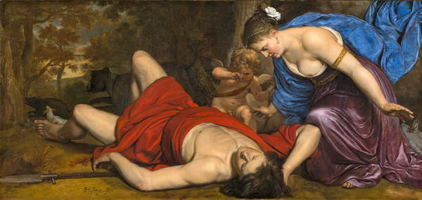 Wall Art - Painting - Venus And Amor Mourning The Death Of Adonis by Cornelis Holsteyn