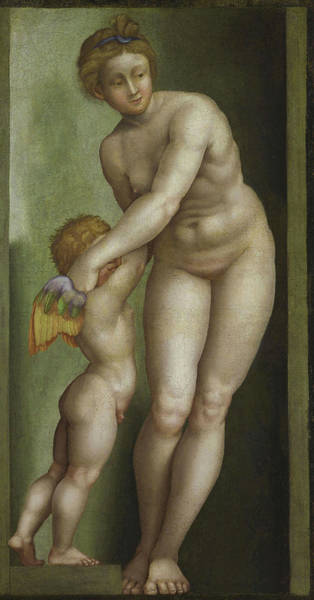 Classical Mythology Painting - Venus And Cupid by Bernardino Campi
