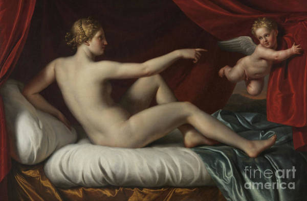 Classical Mythology Painting - Venus And Cupid by Italian School