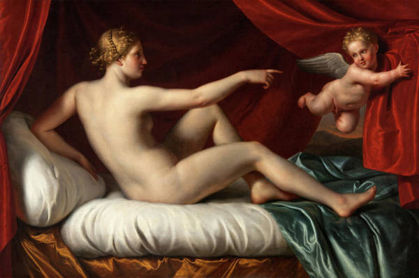 Fertility Painting - Venus And Cupid by Old Masters