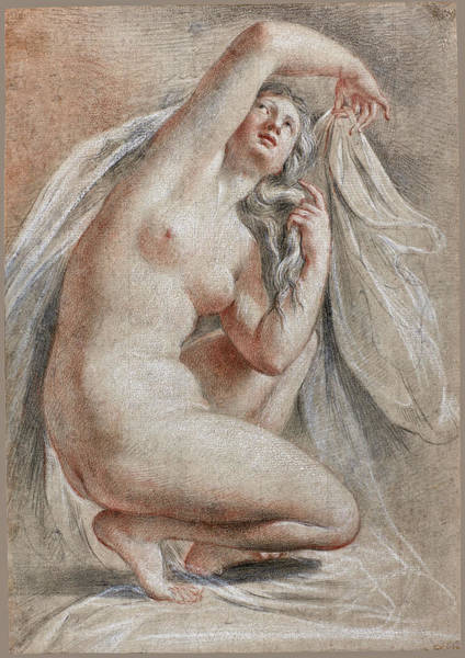 After The Bath Drawing - Venus Arranging Herseld After The Bath by Thomas Lawrence